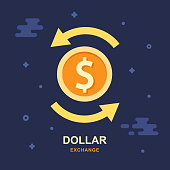 Dollar currency exchange concept. Stock market. Vector logo design