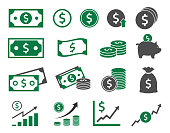 dollar icons, money signs set vector illustration