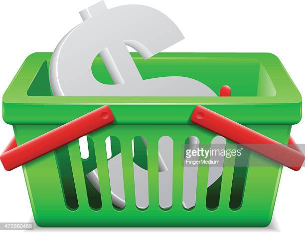 Dollar in shopping basket