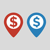 Dollar Map Marker icon on grey background. Vector illustration