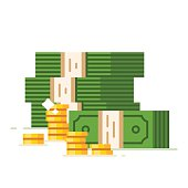 Dollar piles with gold dollar coins. Vector flat illustration.