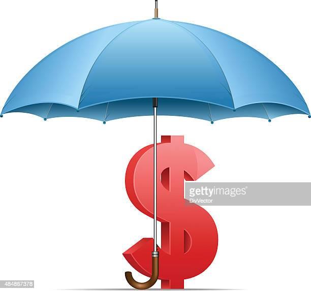 Dollar sign under umbrella