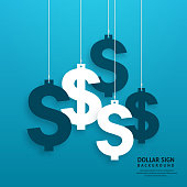Dollar signs hanging on the ropes on blue background.