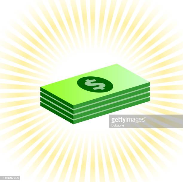 Dollar stack on royalty free vector Background with glow effect