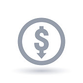 Dollar with arrow down concept icon in circle outline. Investment loss symbol. Economic recession sign. Vector illustration.