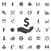 Dollar with hand icon. Business icons set