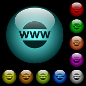 Domain name icons in color illuminated spherical glass buttons on black background. Can be used to black or dark templates