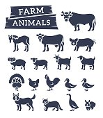Domestic farm animals flat silhouettes vector icons set. Monochrome outline symbols of large and small cattle, birds and pets. Farming infographic elements. Pictograms, isolated on white