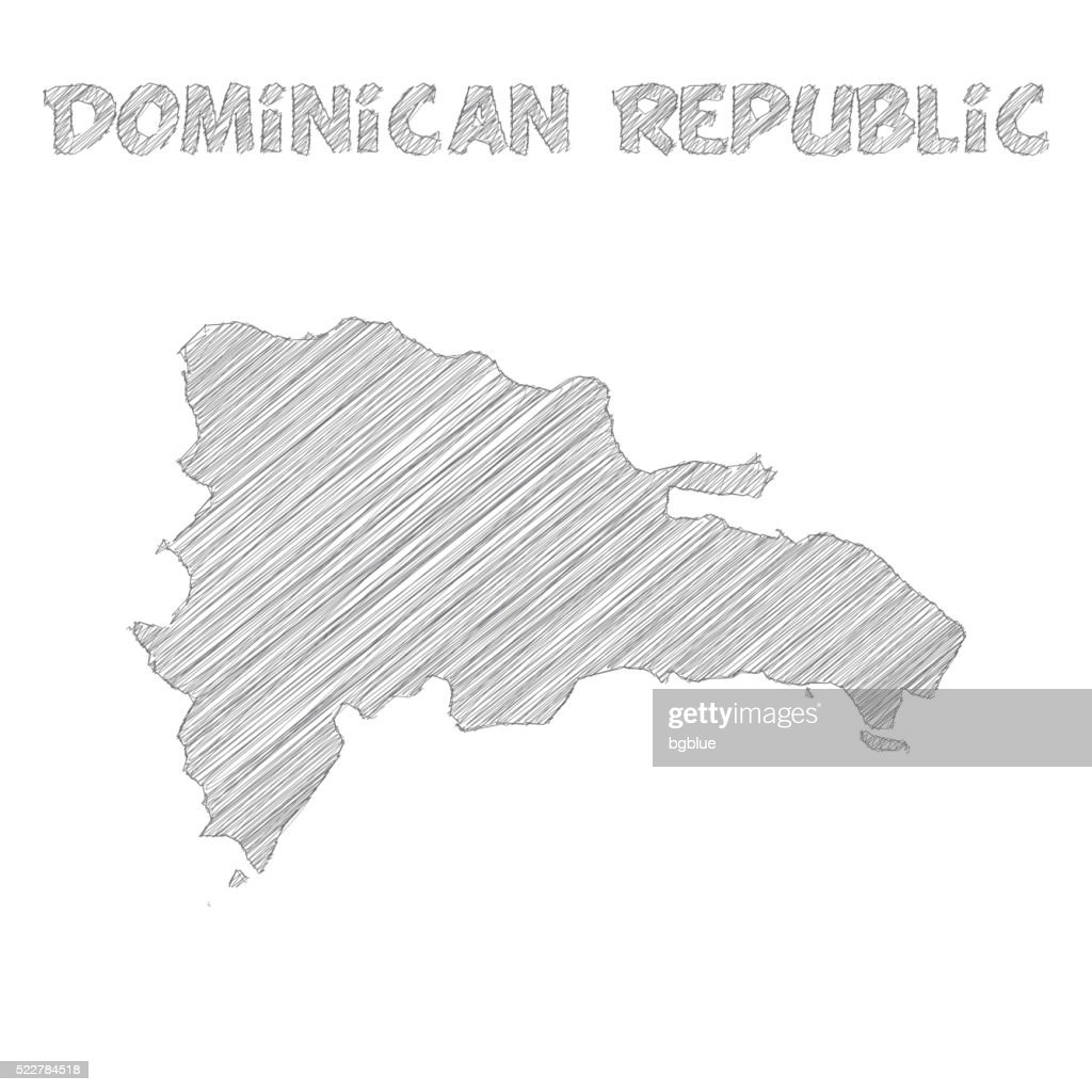 Dominican Republic Map Hand Drawn On White Background Vector Art - Dominican republic map vector