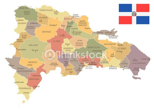 Dominican Republic Vintage Map And Flag Detailed Vector Illustration ...