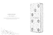 Abstract mash line and point Domino on white background with an inscription. Starry sky or space, consisting of stars and the universe. Vector business illustration