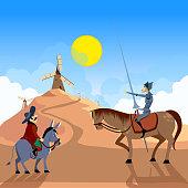 Don Quixote and Sancho Panza riding on windmills. Literature characters. Flat vector illustration