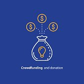Crowdfunding and donation concept, raising money, financial investment, finance consolidation, idea light bulb, start up business fund, vector line icon