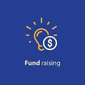 Donation and crowdfunding concept, fund raising, sponsor, idea light bulb, start up business, vector line icon