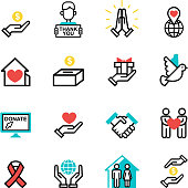Donate money set outline icons help icon donation contribution charity philanthropy symbols humanity support vector. Contribute design sign give money contribution giving.
