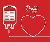 blood bag and heart icon over red background. colorful design. donate blood concept. vector illustration