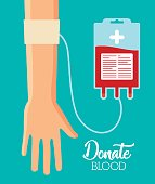 hand with blood bag over blue background. donate blood concept. colorful design. vector illustration