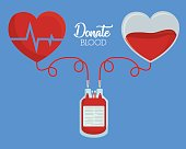 blood bag and heart icon over blue background. colorful design. donate blood concept. vector illustration