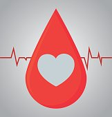 blood drop icon over gray background. colorful design. donate blood concept. vector illustration