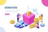 Donation and charity concept. Can use for web banner, infographics, hero images. Flat isometric vector illustration isolated on white background.