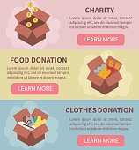 Donation vector concept illustrations. Charity, food donation, clothes donation. Donation boxes. Concept for web banners, websites, infographics.