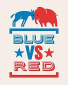 donkey and elephant blue versus red political election banner design