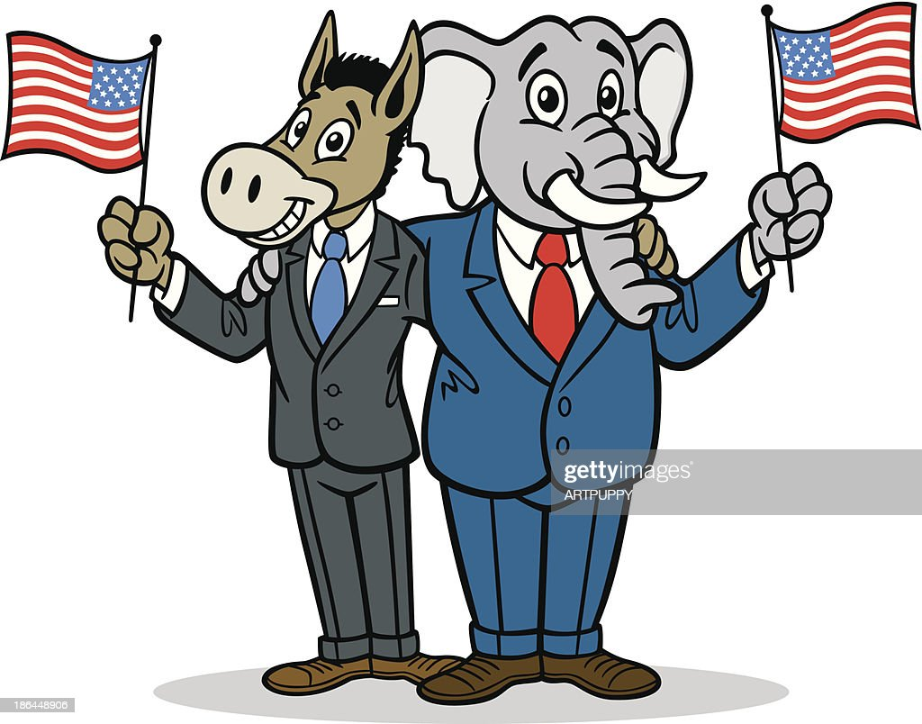 donkey and elephant cartoon vector art getty images