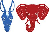 Vector illustration of a donkey and an elephant, representing the Democratic and Republican political parties of the United States. Illustration uses no gradients, meshes or blends, only solid color.