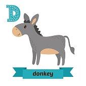 Donkey. D letter. Cute children animal alphabet in vector. Funny cartoon animals. Vector illustration