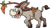Donkey following a carrot tied to its back. Vector clip art illustration with simple gradients. All in a single layer.