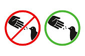 Do not feed the birds warning sign, stylized vector pigeon silhouette and hand symbol in crossed red circle. Feeding animals allowed in green circle.