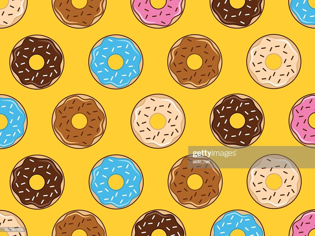Seamless Pattern Of Donuts On Yellow Background stock vector art ...