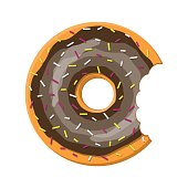 Chocolate donut cake isolated on white background with bite. Doughnut into glaze collection. Sweet sugar icing. Vector illustration in flat style