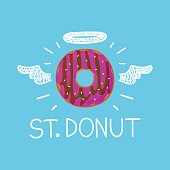 Donut concept 'St. Donut' with angel halo and wings. Flat and doodle vector isolated cartoon illustration