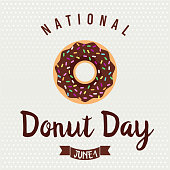 National Donut Day card or background. vector illustration.