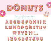 Donuts hand drawn decorative font. Cartoon sweet letters and numbers. Cute design for girls. Birthday party celebration. Vector