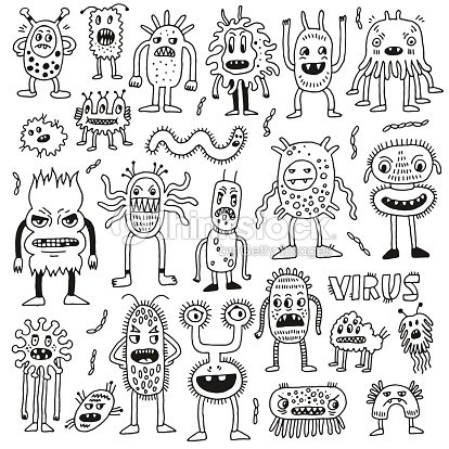 Doodle Bacteria Germs Set Hand Drawn Vector Illustration