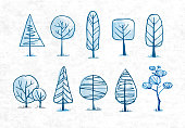 Doodle blue sketch trees on rice paper background.