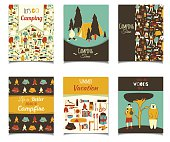 Vector card template set with cartoon camping objects. Retro color template colection for posters, greeting cards, flyers, brochure, web designs. Picnic, travel and camping theme.