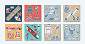Doodle cards winter illustrations with a bear and a hare on skis. Winter clothes, equipment for winter sports. Hand drawing. Horizontal location On a bright background. Vector illustration.