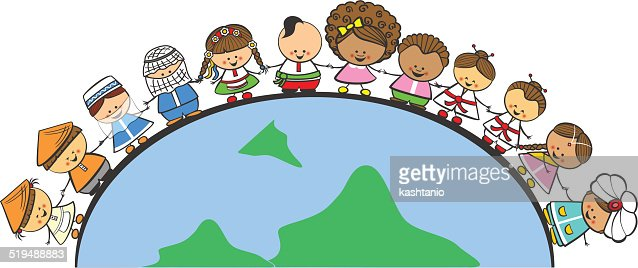 Niños De Diferentes Nacionalidades: Doodle Children Of Different Nationalities On Earth Vector