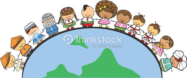 Meninos E Meninas De Nacionalidades Diferentes Childre: Doodle Children Of Different Nationalities On Earth Stock