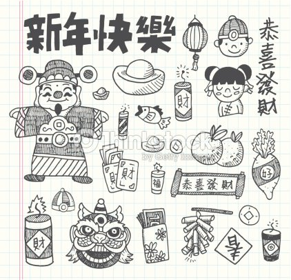 Doodle Chinese New Year Icons Set stock vector | Thinkstock