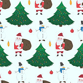 Doodle Christmas seamless pattern with cute hand drawn Snowmen, Santa Claus with gifts and fir trees. Winter texture with holiday balls for textile, wrapping paper, wallpaper, new year decor