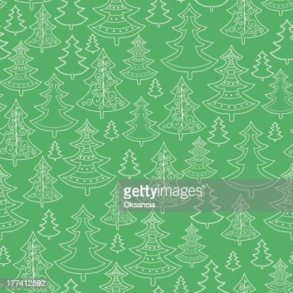 Doodle Christmas trees seamless pattern background : Vector Art