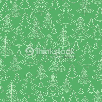 Doodle Christmas trees seamless pattern background : stock vector
