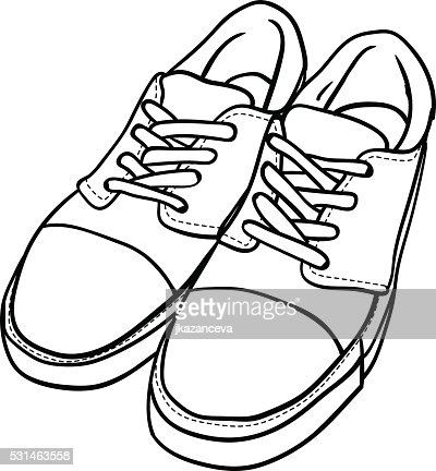 Gekritzel Kontur Schuhe Comic Sneaker Isoliert Auf Weissem