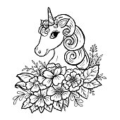 Doodle cute unicorn head in colors black on white