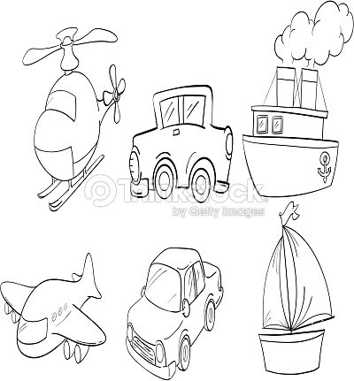 Doodle Design Of Land Air And Water Transportations stock
