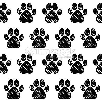 Doodle Dog Paw Seamless Pattern Background Vector Art   Thinkstock